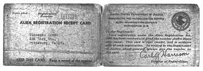 Photo of alien registraton card