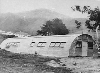 Quonset huts on the Sharp Park golf course